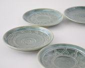 """IN STOCK, Miniature Plate Set, Tiny Dark Green Hand Thrown Pottery, Hand Decorated Stoneware, 3"""""""
