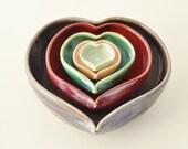 Valentines Gift, Handmade Heart Nesting Bowls, 5 Heart Bowl Set, Colorful Nesting Dishes, Ring Dishes, Home Decor