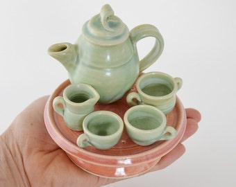 6 pc. Miniature Ceramic Tea Set, Hand Thrown Turquoise Tiny Tea Pot , Pink Tea Tray, Made to Order