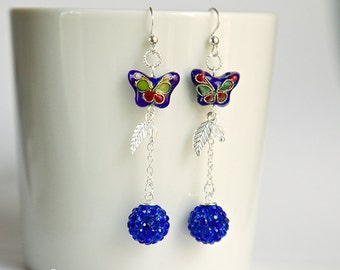 Blue dangle sterling silver earrings with cloisonne cobalt blue butterfly, Aurora Borealis and blue crystal balls, design fashion earrings