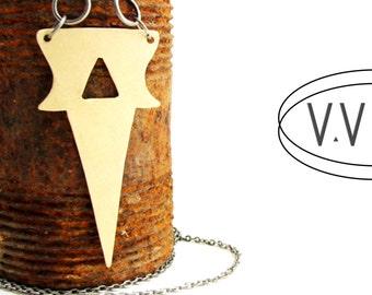 ACUTE Dagger Necklace || Gun Metal || Chain Link || Long Necklace