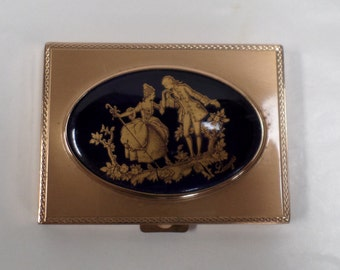 Vintage French Limoges Powder Compact w357