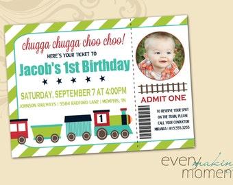 Train Birthday Party Invitation -- Boy Birthday Invitation -- custom, digital, personalized, printable birthday invite