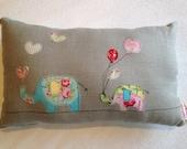Elephant cushion. Lecien sugar flower. Stuffed linen pillow with elephants appliqués