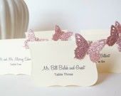 Pink Vintage Wedding Decorations,   Butterfly Escort Cards , Butterfly Place Cards,  - Pink and Ivory