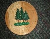 Rustic Painted Evergreen Tree Cribbage Board