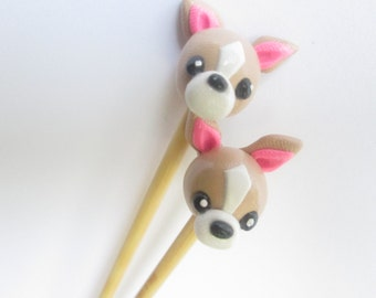 Chihauha Knitting Needles-- handmade polymer on premium bamboo-- gift for knitter size 5