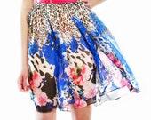 Floral print silk chiffon dress