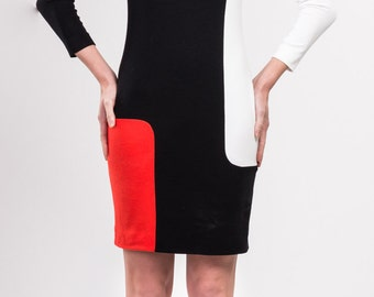 Wool and viscose blend jersey color block dress