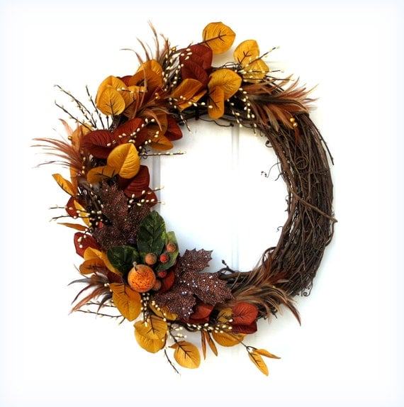 Sale Fall Wreath Autumn Wreath Oval Grapevine Wreath
