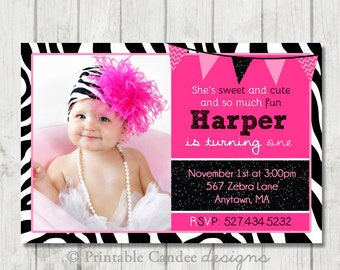 Hot Pink Zebra Birthday Invitation - DIY Custom Printable