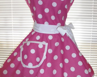 Retro Apron Fuchsia and White Polka Dots Circular Skirt