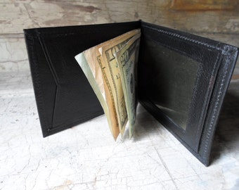 Leather Wallet, Men's Wallet, Never Used, Vintage, Black, Credit Card Holder, Business Card Holder for Retro Mad Men from All Vintage Man 20