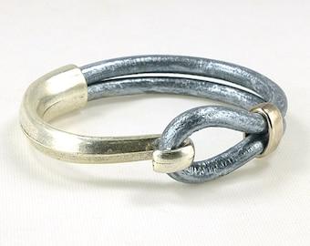 Metallic Leather Silver Cuff Bracelet, Leather and Silver Bracelet Cuff, Silver Hook Leather Cuff Bracelet, Silver and Silver Hook Bracelet