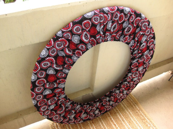 Hula Hoop Cover Holder Hippie Bag for Storage or Travel Red and White Flowers Hooping Festival Accessory for Non-Collapsible Hoops