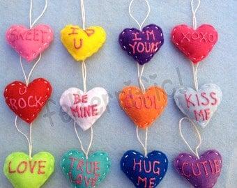 1 dozen Handmade Mini Felt Conversation Heart Ornaments