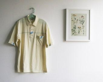 SALE / Vintage 90s Men's Polo Collared Shirt , Banana shirt,Size M