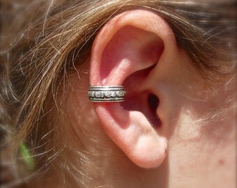 EAR CUFF Solid Sterling Silver Ear Cuffs with Beautiful Beaded Edge and Flower Pattern 6mm wide floral