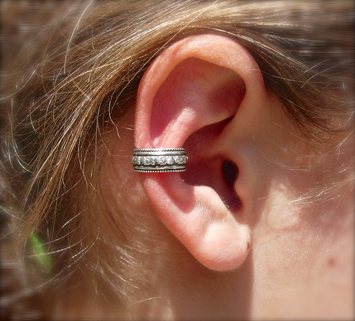 ear cuff solid sterling silver ear cuffs with beautiful beaded. Black Bedroom Furniture Sets. Home Design Ideas