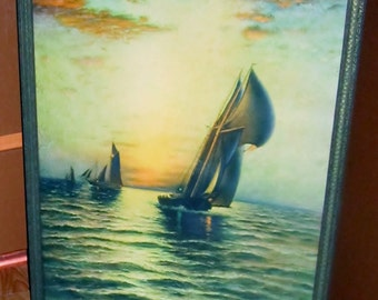 Vintage Nautical Sail Ship Print Steamer Ship Retro Sailing into the Sunset Art