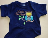 Little Brother Tee Owl Design Sibling Tee/Birthday Shirt