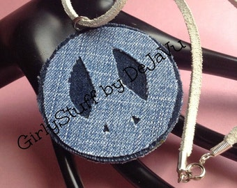 Reversible Denim Jean Fabric Pendant / Necklace, Peace Sign / Cross, handmade, made to order, recycled denim/jean, two sided, made in Greece