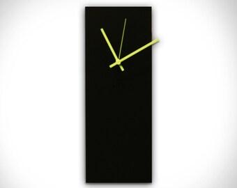 Contemporary Clock 'Blackout Green Clock' - Midcentury Modern Clocks - Black Metal Clock w/ Green Hands