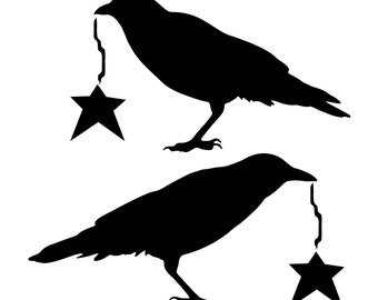 Beautiful Prim Crows with Stars
