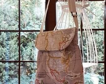 World Map Print Small  Diaper Bag