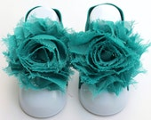 Dark Teal Baby Barefoot Sandals with Shabby Flower (88) - LullabyLovies