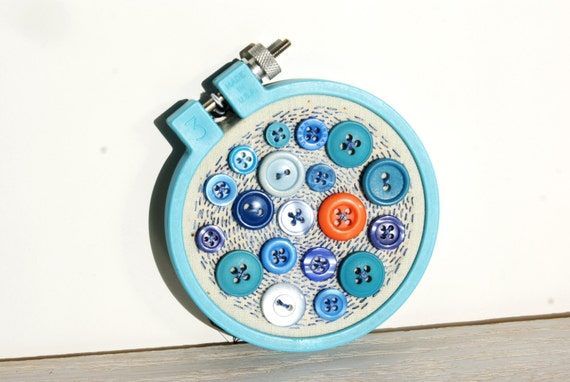 Mini embroidery hoop art upcycled textile and vintage button