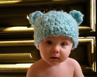 PATTERN:  Baby ears hat, easy crochet PDF, teddy animal beanie, sizes newborn to toddler, InStAnT DoWnLoAd, Permission to Sell