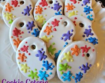 Paint Palette Artist Party Decorated Cookie Favors One Dozen