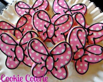 Bowtique Polka Dot Bows Decorated Cookie Favors One Dozen