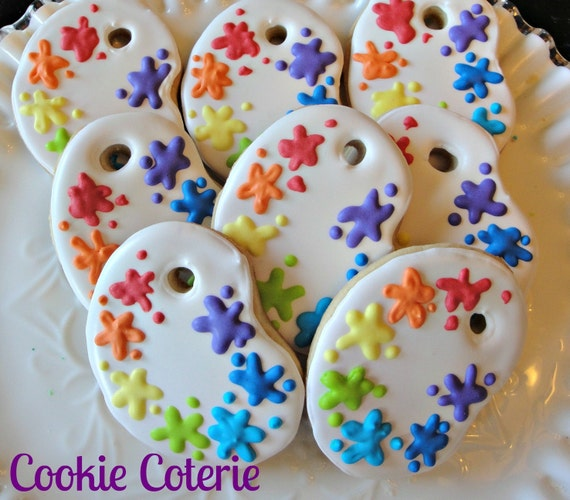 Paint Palette Artist Party Decorated Cookie Favors One Dozen