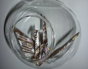 Hanging Origami Paper Crane in Glass Ball