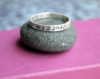Skinny Latitude Longitude Ring in Sterling Silver, Location Ring, Ring with Coordinates, Graduation Gift