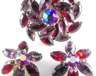 Festive Brooch Earrings Marked Pat. Pend. Red Red Aurora Borealis Pinwheel Flower
