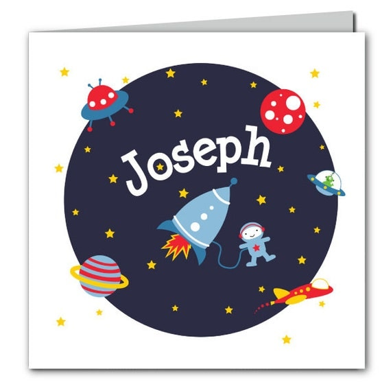 Spaceman Birthday Card - space card for boys - rocket birthday card - boys birthday card - boys space card - astronaut birthday card