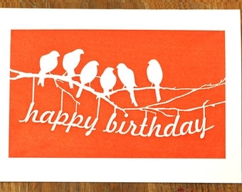 Happy Birthday From The Flock Of Birds, Laser Cut Greeting Card
