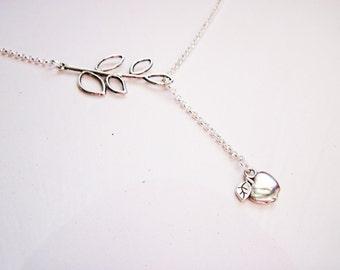 Apple Necklace, teacher Necklace, silver Teacher Necklace, Small Apple Charm Necklace, tiny Apple Pendant Necklace, lariat style, retirement
