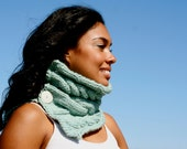 Made to Order: Robin's Egg Blue Hand Knitted Women's Cabled Neck Warmer Cowl Infinity Scarf in Wool Blend Roving with Buttons