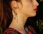Matched PAIR Tribal Ear Wrap with Porcupine Quill Dangles--Wire Wrapped Ear Cuffs--No Piercings Necessary