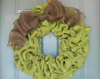 Burlap Wreath Avocado Green With Large Brown Bow - Harvest Wreath - Fall Wreath- Autumn Wreath  X-Large 25 inch