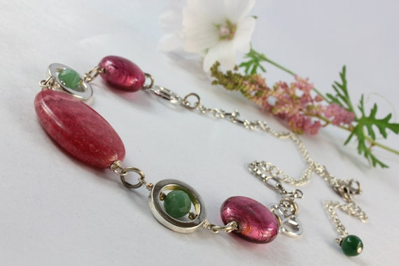Rhodonite, Pink Lamp Work Glass, Green Jade, Silver plated, Necklace