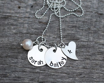 Hand Stamped Bride-to-be, Newlywed or Anniverary Sterling Silver Necklace