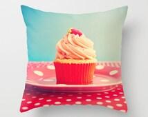 SALE Pillow cover, red pillow, blue pillow, spring decor, kitchen decor, cupcake pillow, food pillow, colorful pillow, design pillow pillows