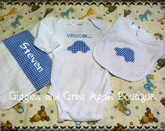 Boys Baby Gift Set - Includes Embroidered Onesie, Bib and Burp Cloth