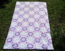 Vintage Single Duvet Cover, 1960s 1970s Twin Duvet Cover, Purple Blue Floral Duvet, Retro floral fabric
