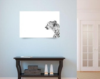 Cheetah Modern Wall Decor - Wildlife Fine Art Photography - Animal Black and White Monochrome Print